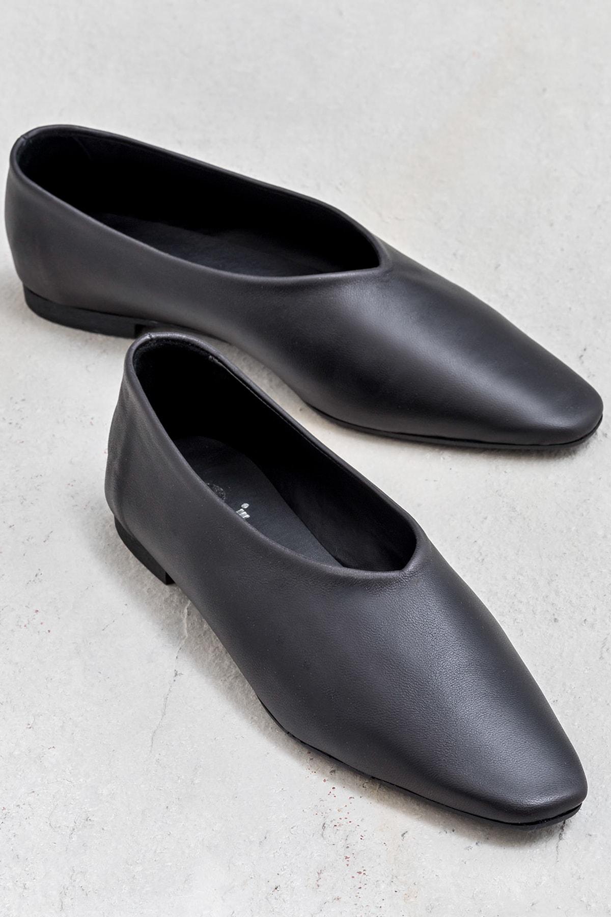 Elle Shoes Sallie Hakiki Deri Kadin Siyah Ayakkabi Trendyol
