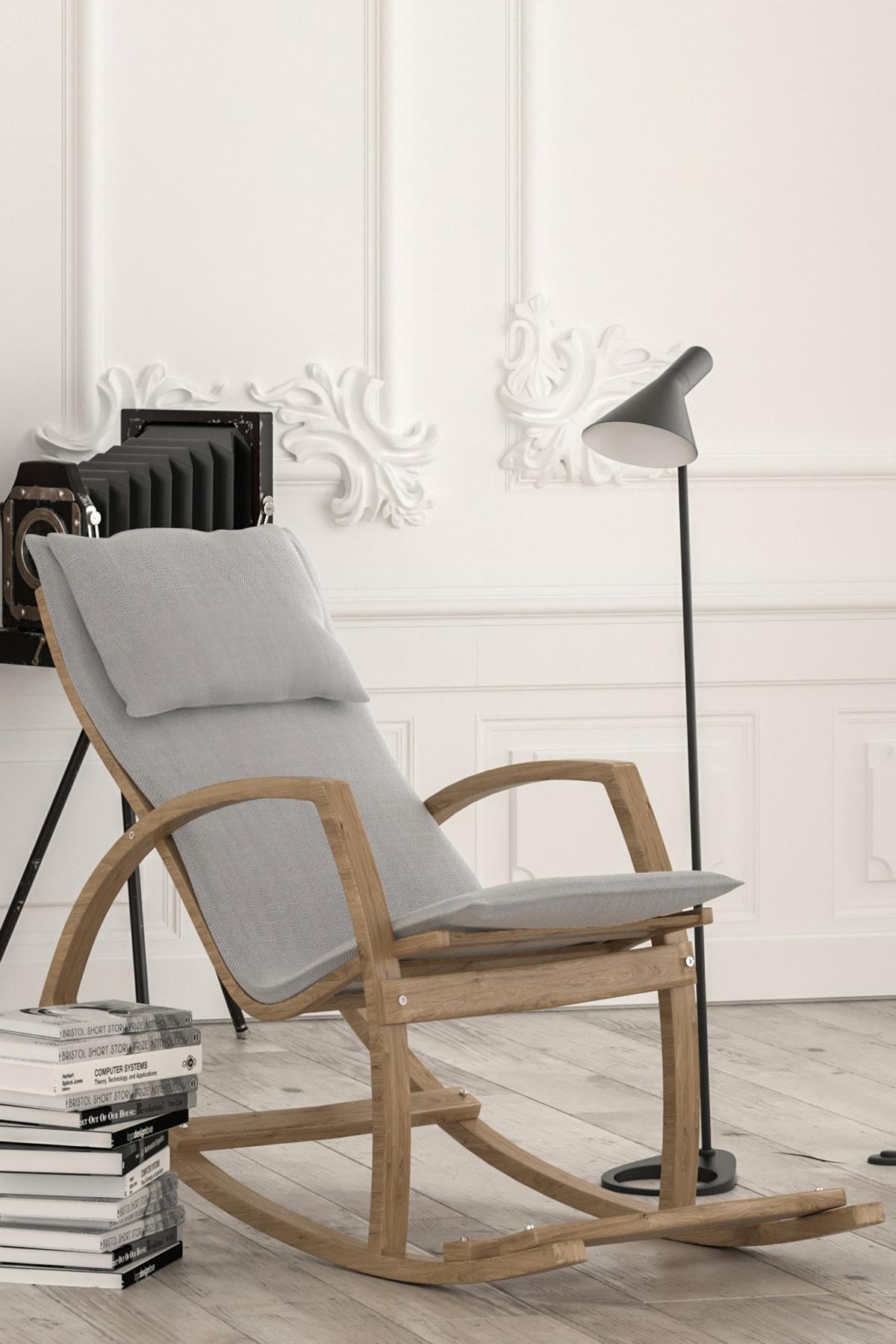 Mobildeco Ahsap Sallanan Sandalye Dinlenme Koltugu Gri Trendyol